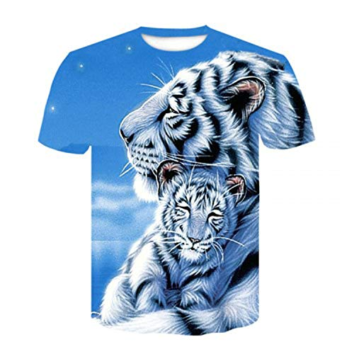 Latest Tiger 3D Printed Animal Cool Funny T-Shirt Men's Short Sleeve Summer Shirt Men's T-Shirt Fashion Breathable top,Picture Color, S