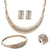 Set de joyas Yazilind, chapado en oro, collar, anillo, pendientes y pulsera, de pedrería, para novia