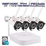 (Audio+PIR) Tonton 4CH 1080P Full HD Wireless NVR System Funk Überwachungsset mit...
