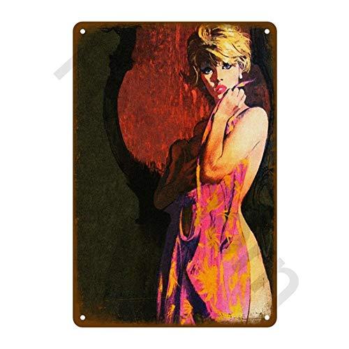 Preisvergleich Produktbild Roovtap Bar Dekoration Blechschild Shabby Chic Home Decoration Plaque-Metall-Zeichen-Wand-Plakat Retro Art-Deco-Stil 20x30cm (Color : for Adorn 18096)