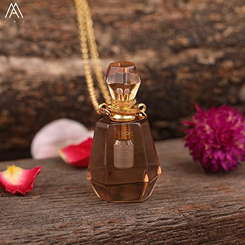 JIAQ Difusor de aceite esencial de cuarzo con amatista de color ahumado natural, collar de oro para mujer con cristal facetado y botella de perfume (Color de metal: cuarzo ahumado)
