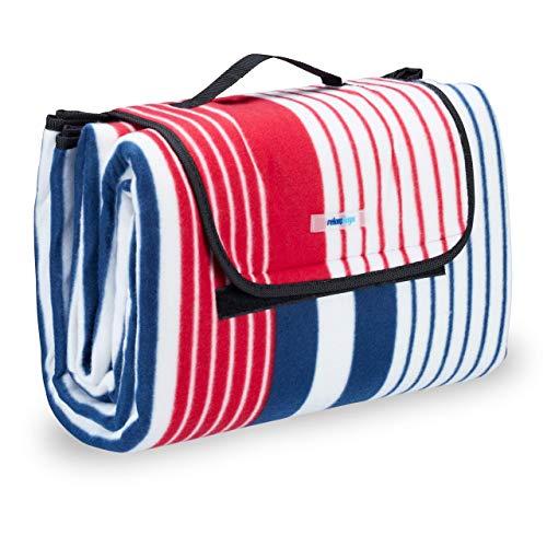 Relaxdays Picknickdecke XXL, 200 x 200 cm, wärmeisoliert, Faltbare Stranddecke, wasserdicht, mit Tragegriff, rot-blau