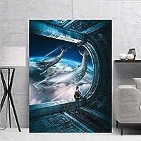 リビングルームの映画ポスター絵画壁部屋の装飾 壁アート Quadrosdecoracaoスペースクジラ 20x30inch