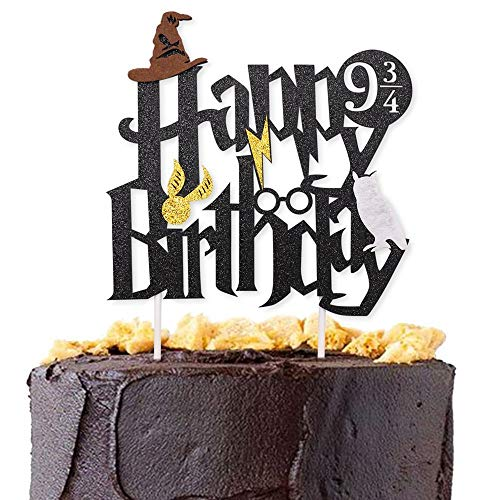 Wuree double sided black glitter de gâteau d'anniversaire topper et party supplies assistant