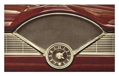"""Lunarable 1950s Doormat, Clock on The Dashboard of Maroon Classic Fifties Car Classical Automobile Close, Decorative Polyester Floor Mat with Non-Skid Backing, 30"""" X 18"""", Redwood Sepia"""