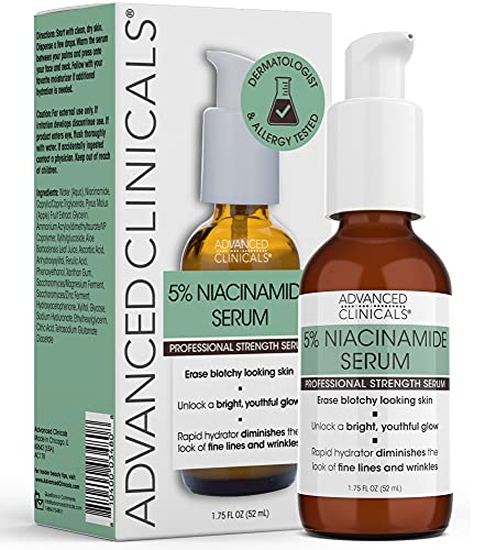 Advanced Clinicals Niacinamide Serum - 5% Niacinamide Serum for Face with Hyaluronic Acid Serum, Ferulic Acid, Aloe Vera, Fruit Extracts - Dark Spot & Age Spot Remover - Skin Serum for Face 1.75 fl oz