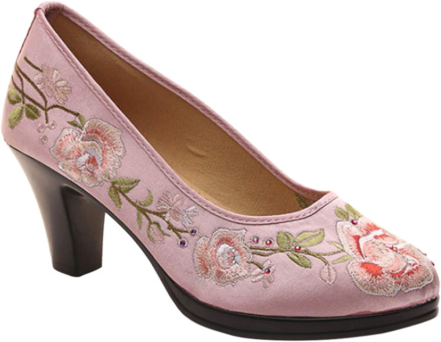 Uirend Women Cheongsam Pumps - Embroidery shoes Court shoes Slip On Thick Heel Round Toe Ethnic Style Party Dress Elegant Casual