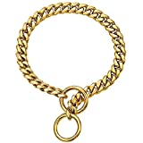 Custom Engraved 18K Gold Black Multicolor Plated Personalized ID Tags Necklace for Pets Slip On Dog Chain Collar, Strong Heavy Duty Metal Stainless Steel Cuban Link Dog Collars for Small Medium Dogs