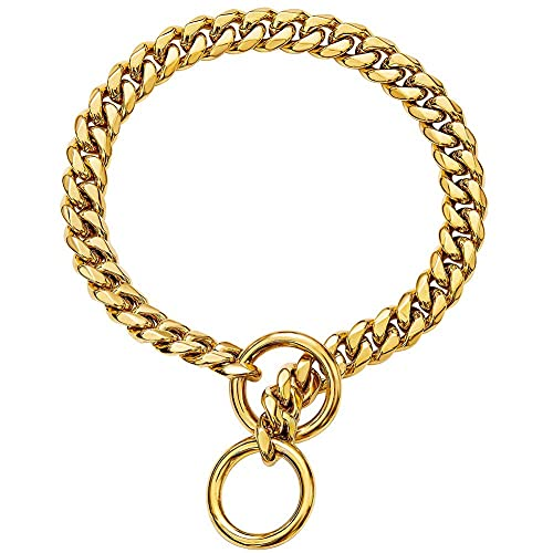 Custom Engraved 18K Gold Black Multicolor Plated Slip On Dog Chain Collar Personalized ID Tags Necklace for Pets, Strong Heavy Duty Metal Stainless Steel Cuban Link Dog Collar for Small Medium Dogs