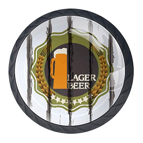 Alle natuurlijke ingrediënten bier etiketten op oud hout achtergrond 4 Stks kristal glas kast dressoir knoppen lade deur kabinet knoppen Pull handgrepen voor keuken badkamer uniek 35mm Black05