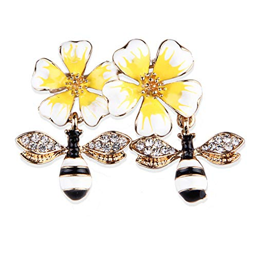 YAZILIND Alloy Breast Pin Rhinestone Insect Bee Enamel Brooch Pin Women Men Clothes Accessories Pin and Brooches Yellow