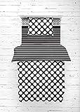 Bacati - Dots/pin Stripes Black/White 4 Pc Toddler Bedding Set