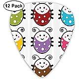 Paquete de 12 Lady Beetle con una encantadora sonrisa Guitar Picks Set de regalo completo para guitarrista