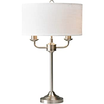 Village At Home Grantham Table Lamp, Metal, E14, Satin NickelWhite