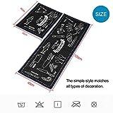 TankerStreet 2 Stück Küchenteppiche Küchenläufer Waschbar Teppich Küchenmatte Schön Pattern Teppichläufer Rutschfeste Ölbeweismatte Matte für Toilette Esszimmer Schlafzimmer 40×60 + 40x120CM Schwarz - 6