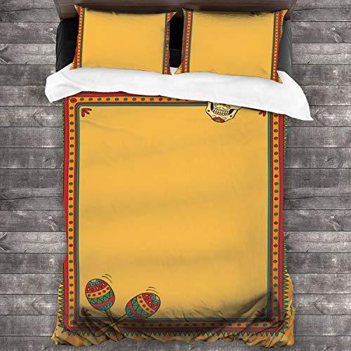 BEITUOLA Juego de Funda nórdica,Diseño de Marco de Fiesta con Estampado de Calavera,1 Funda de Edredón y 2 Fundas de Almohada 140 x 200cm