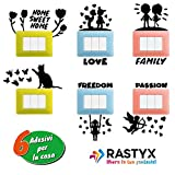 RASTYX Adesivi Murali Bambini Wall Stickers Muro Stencil Scritte Pareti Interruttore Decorazioni Camera Letto Ragazza Accessori Arredamento Casa Bagno Cucina Vetro Fiori Farfalle Home Sweet Love