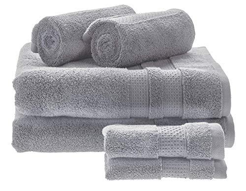 iDesign Juego de 6 Toallas de baño o Aseo de Invitados, Suaves Toallas de algodón 100%, Juego de Toallas con 2 de baño, 2 de Lavabo y 2 de tocador, Gris