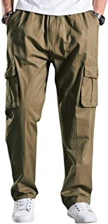 Men's Elastic Lightweight Workwear Casual Loose Fit Cargo Pull On Pants