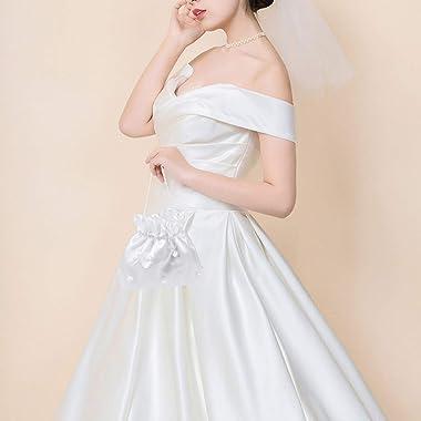 VORCOOL novia dama blanco satinado Flores Dolly bolsa bolso de mano