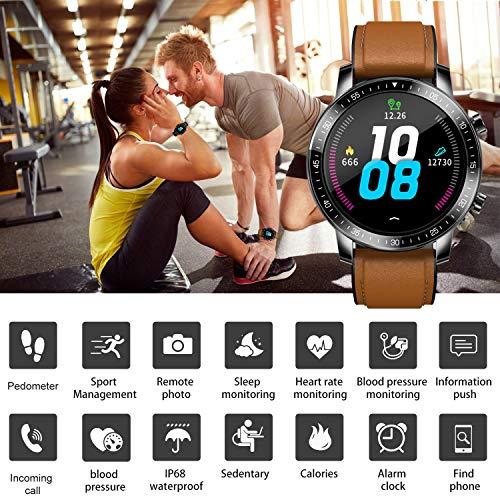 Smartwatch Reloj Inteligente Hombre Mujer Niños Monitor Pulso Cardiaco Pulsera Actividad Reloj Inteligente Cardio Podómetro Bluetooth Reloj Deportivo Impermeable Cronómetro para Android iOS(Marrón) miniatura