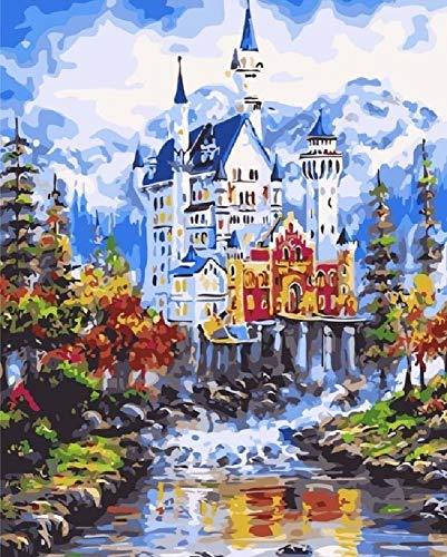 Digitale olieverfschilderij, snow mountainbike, Castle, river doe-het-zelf huisdecoratie, room, frameless canvas geschenk, geschikt voor kinderen, vrienden, beginners, kunst, paintings 40 x 50 cm