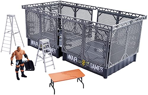 WWE NXT Takeover War Games Playset with 2 NXT Rings, Keith Lee Action Figure, 2 Connecting Cages with Breakaway Pieces, 2 Ladders, Chair, Table & More; for Ages 6 Years Old & Up