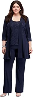 Plus Size Two Piece Lace and Jersey Pant Suit Style 7772W
