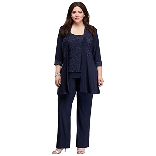 7b894ce33cf Plus Size Mock Two Piece Lace and Jersey Pant Suit Style 7772W