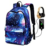 Peicees Galaxy School Backpack with USB Charging Port Waterproof Bookbag Daypack Rucksack for Teen Boys and Girls