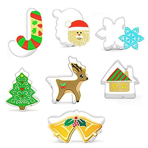 Eastor Lot de 7 moules à biscuits de Noël en acier inoxydable, bonhomme de neige/sapin de Noël/élan, biscuits de Noël, moule à biscuits, pâtisserie, accessoires de cuisine