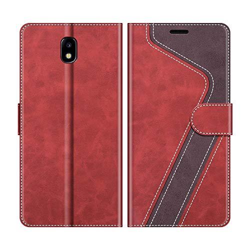 MOBESV Handyhülle für Samsung Galaxy J3 2017 Hülle Leder, Samsung Galaxy J3 2017 Klapphülle Handytasche Hülle für Samsung Galaxy J3 2017 Handy Hüllen, Modisch Rot