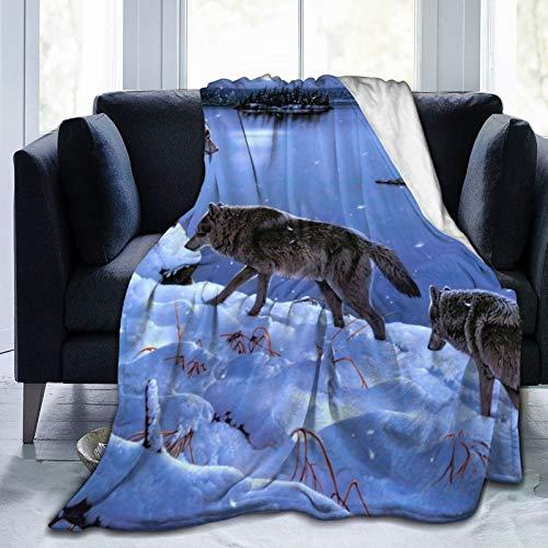 Manta de forro polar de 127 x 152 cm, de Gadamus Wolves de invierno de franela suave y cálida para cama, sofá, oficina, camping