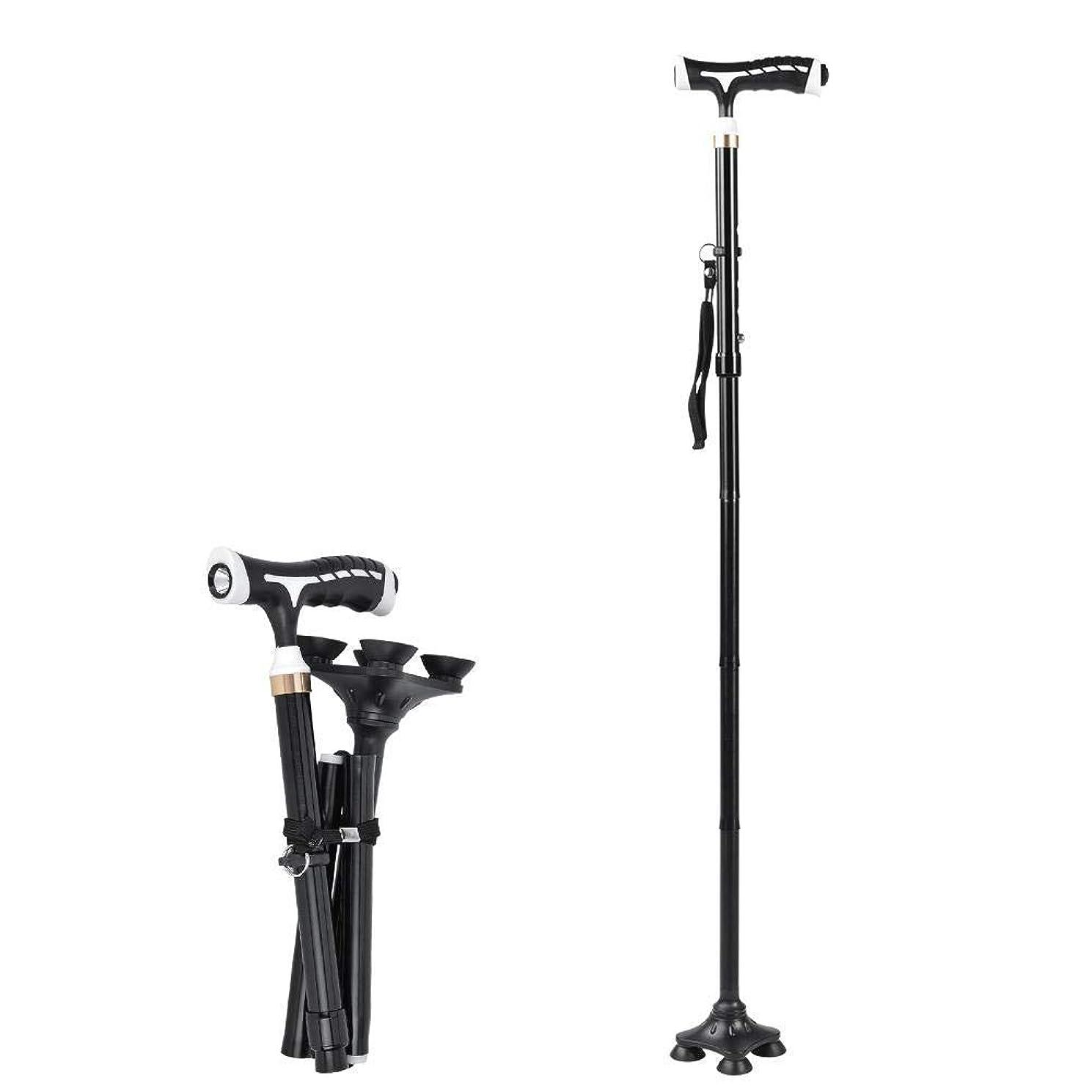 価格西欠席折りたたみ式歩行サポートスティック調整可能な高齢者松葉杖は、LEDライトと4人用フィードで高齢者用