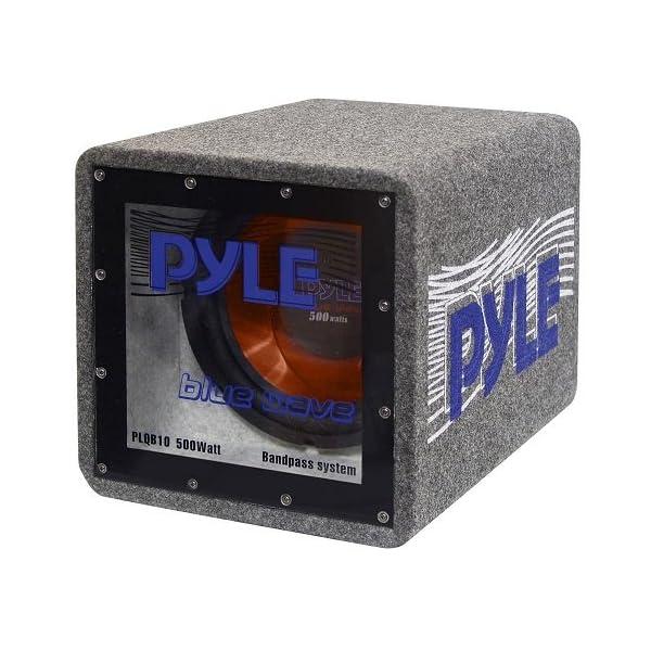 Bandpass Enclosure Car Subwoofer Speaker – 500 Watt High Power Car Audio Sound Component Speaker System w/ 10-inch Subwoofer, 2″ Aluminum Voice Coil, 4 Ohm, Ported Enclosure System – Pyle PLQB10