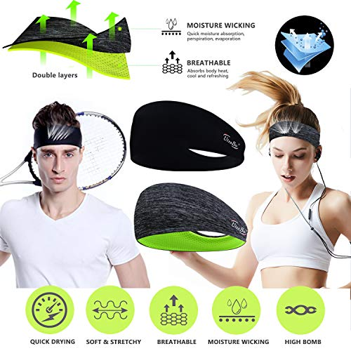 Headbands for Men & Women-Sweat bands headbands men & Women 2Packs mens headband & Sports Headband for Running/Fitness/Yoga/Workout/Gym-Performance Stretch & Moisture Wicking with head bands sweatband
