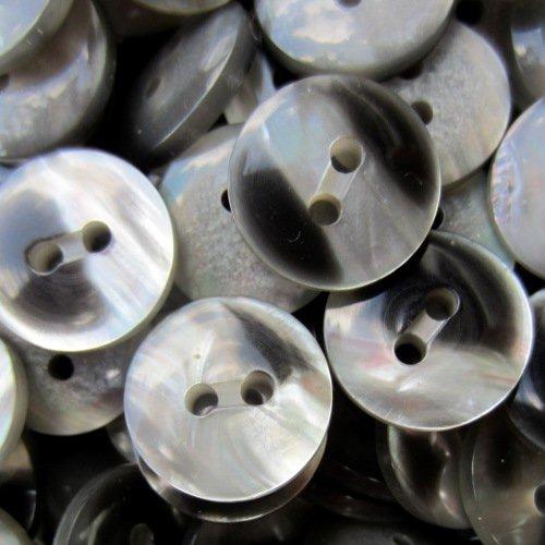 Knopfparadies - 15er Set attraktiv schillernde Zweiloch Knöpfe in Perlmutt Optik/Edle Knöpfe für Blusen, Strickjacken, Blazer, etc. / Silbergrau & schwarz/Kunststoff