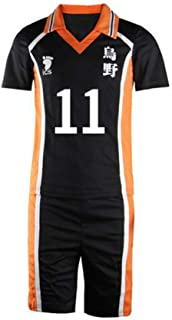 Haikyuu Jersey No.11 Sportswear Tsukishima Kei Cosplay Costume Unisex T shirt Karasuno High School Club Uniform