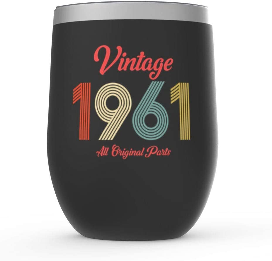 60th Birthday Gift Wine Tumbler Vintage discount All stores are sold Funny 1961 Wi
