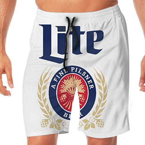 Miller Lite Men's Summer Holiday Quick-Drying Swim Trunks Beach Shorts Board Shorts M White