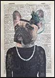 Parksmoonprints Fawn Frenchie Print Vintage Dictionary Wall Art Picture Girl Dog French Bulldog