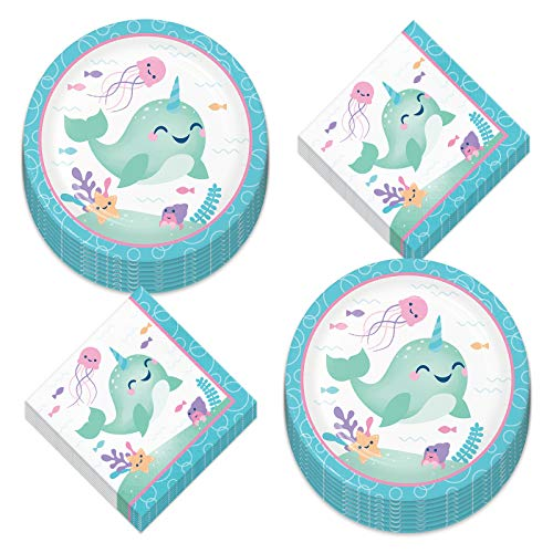 Narwhal Party Supplies - Happy Narwhal Paper Dinner Plates and Lunch Napkins for Birthday and Showers (Serves 16)