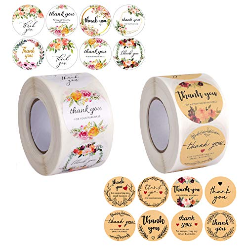 Avamie 1000 PCS Thank You Stickers Rolls, 1.5 inch Thank You for Supporting My Small Business Stickers, 16 Unique Designs, Thank You Stickers Labels 2 Rolls (Floral and Kraft)
