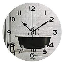 ALUONI Print Round Wall Clock, 10 Inch Black and White Classic Bathtub On Brick Wall Quiet Desk Clock for Home,Office,School IS163087