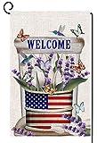 Kleine Willkommen Patriotische Garten Flagge Doppelseitige Verticle 4. Juli Unabhängigkeitstag Amerikanische Flagge Flasche Tulpe Lavendel Blumen Saisonale Hof Haus Flagge Für Den Somme