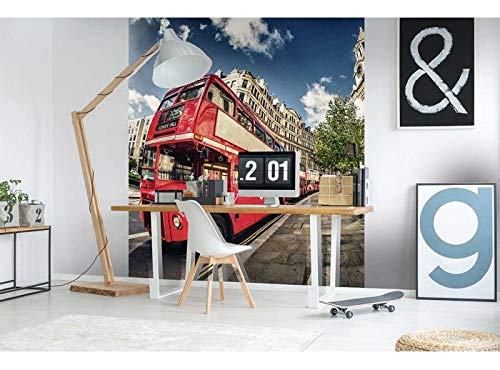 Vlies Fotobehang LONDEN BUS | Niet-Geweven Foto Mural | Wall Mural - Behang - Reusachtige Wandposter | Premium Kwaliteit - Gemaakt in de EU | 225 cm x 250 cm