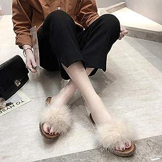 Fur Women Slipper Sandals Women Gladiator Outdoor Indoor Flats Shoes Women Casual Beach Flip-flops Slipper Ladies Comfy Slippers (Color : Beige, Shoe Size : 9)