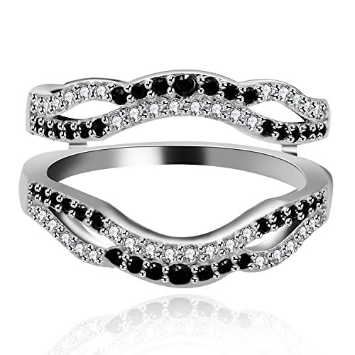 Uloveido Women Double Infinity Wedding Ring Guard Enhancer Black Cubic Zirconia Ring for Anniversary Promise Ring Enhancer with CZ Crystals Size 7 Y444