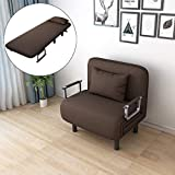 Sofa Chair Fold Out Bed Convertible Sofa Bed Folding Arm Chair Sleeper Recliner Lounge with Padded Pillow - Shipped from US (Coffee)