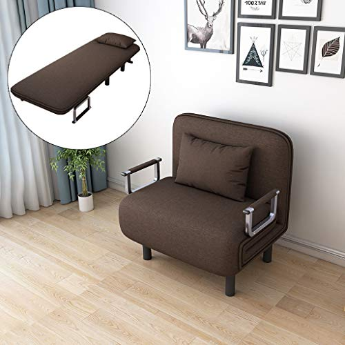 Convertible Sofa Bed - Lazy Folding Sleeper Arm Chair Sofa Couch with Pillows, Sturdy Sleeper Leisure Recliner Stylish Lounge Dorm Game Bed Mattress (Coffee)
